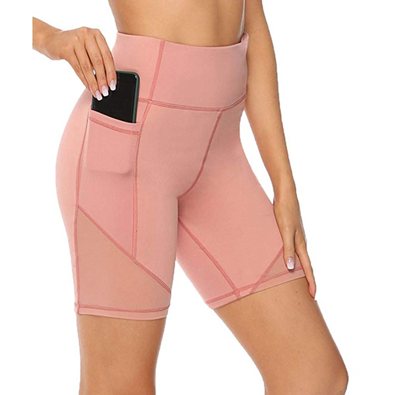 Summer Solid Color Slim Shorts With Pockets Sports Women Shorts High Waist Breathable Workout Fitness Shorts For Women