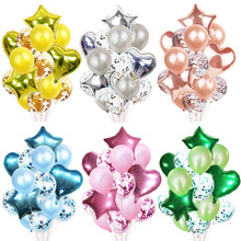 14 Pcs/ Lot  Hot Sells Wedding Rose Gold Love Balloon Set Party Birthday Confetti Star Heart Shape