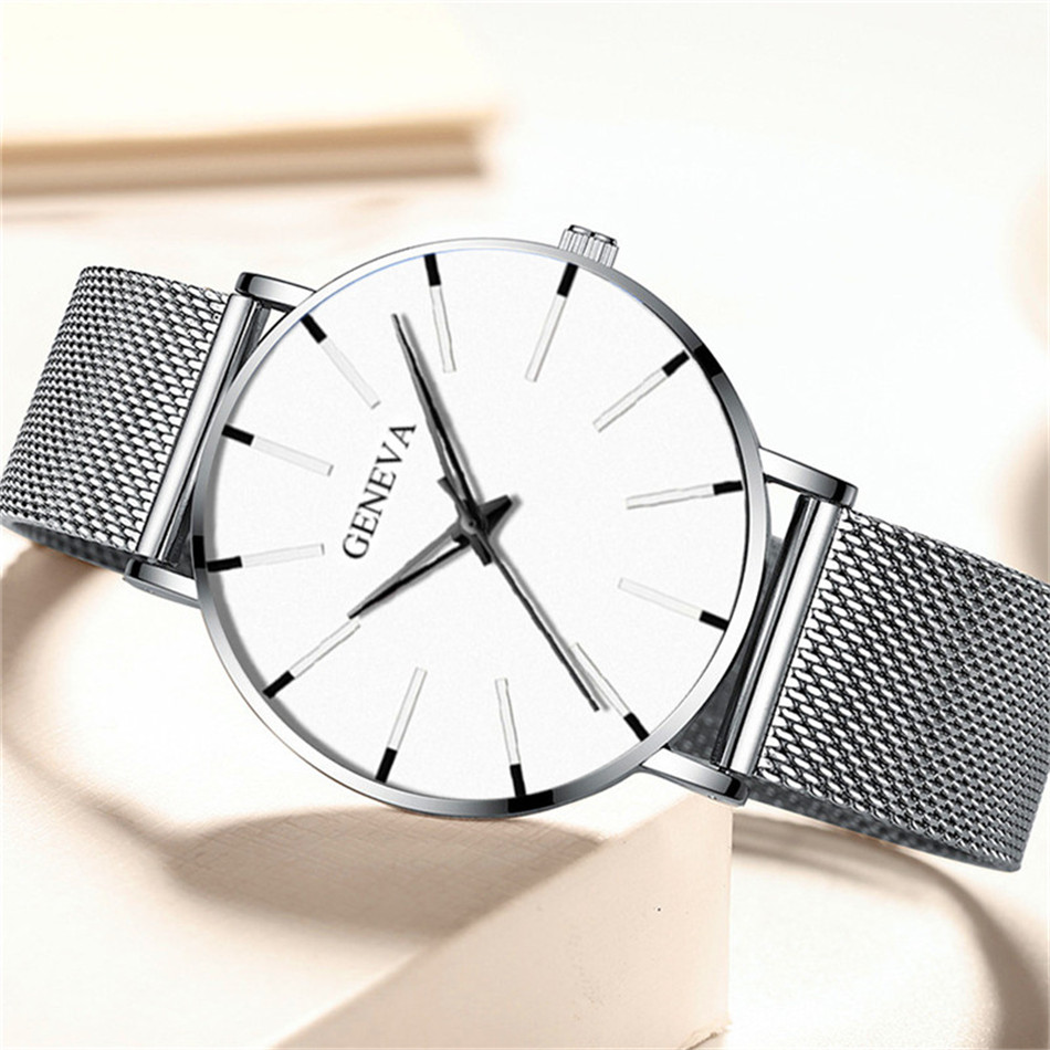 H3688f3cd4d8e4a66b1bbdeec25ce6098V 2020 Minimalist Men's Fashion Ultra Thin Watches Simple Men Business Stainless Steel Mesh Belt Quartz Watch Relogio Masculino