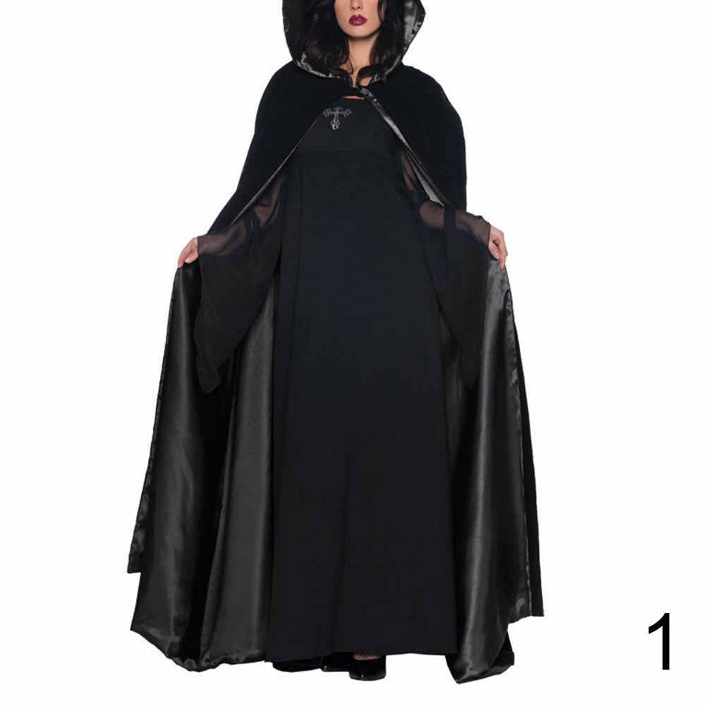 Kostum Halloween Berkerudung Jubah Wanita Dewasa Penyihir Kostum Gaun Pesta Dansa Halloween Halloween Jubah Panjang Penuh Cosplay Anime