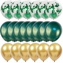 20 шт. Хромированные Металлические воздушные шары латексные зеленые шары Дикие один мальчик день рождения джунгли тематический детский душ ...