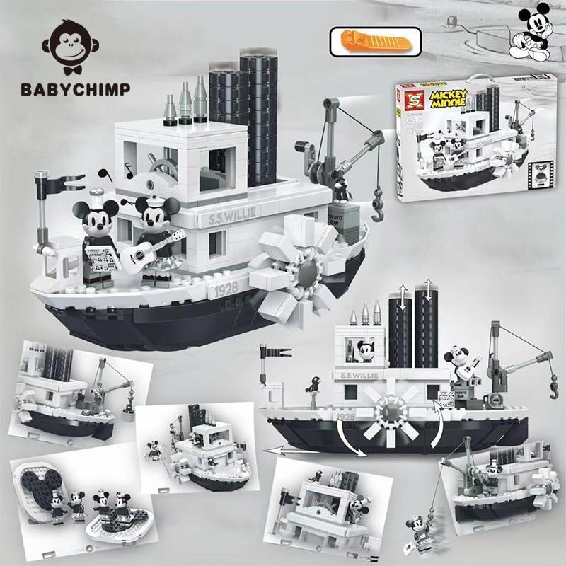 Hot Sell Mickey Steamboat Willie Set Model 21317 legoeds Building Blocks Bricks toys for children Gifts Kid Christmas