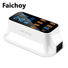 Lcd display digital chargeur 8 portas usb para iphone android adaptateur telefone portátil chargeur para xiaomi huawei samsung faichoy(China)
