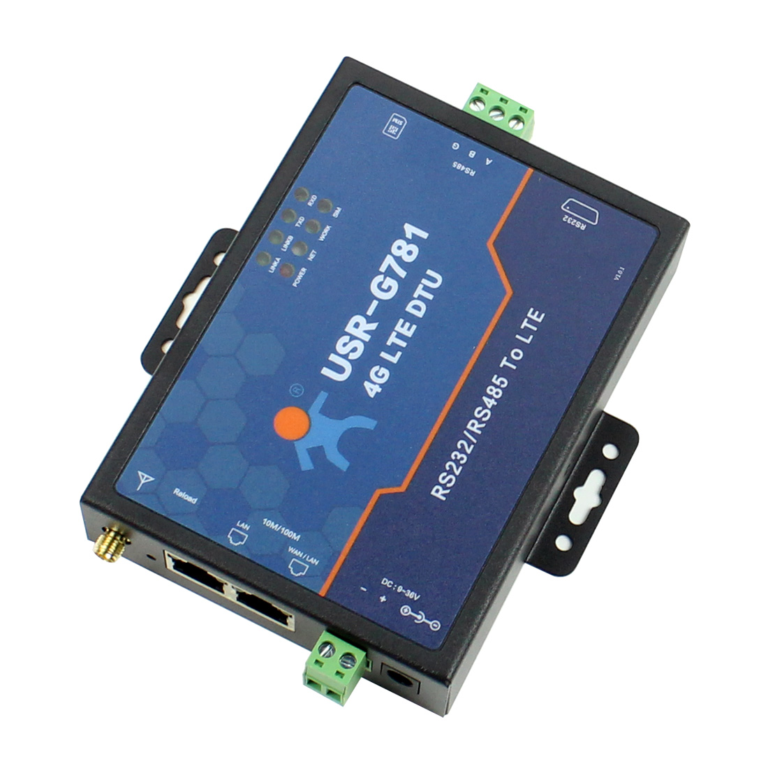 USR-G781 Industrial Transparent Data Transmission RS232/RS485 Serial To 4G LTE Modem With Ethernet Port