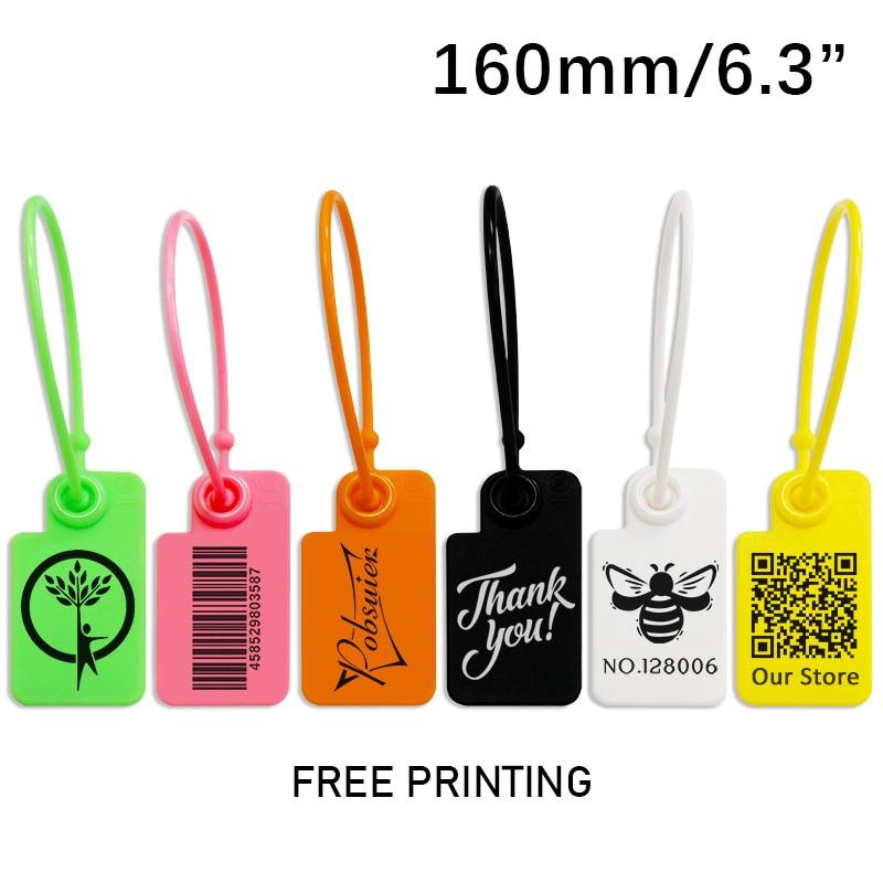 100 produto personalizado pendurar tags etiqueta roupas de vestuário de segurança de plástico sapatos saco chave logotipo do presente marca etiquetas impressas tag 160mm/6.3