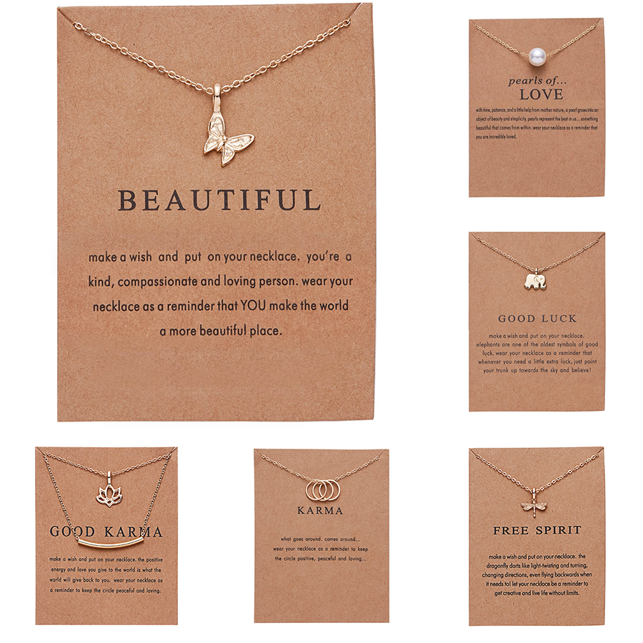 Sweet Butterfly Elephant Pearl Of Love Gold-color Pendant Necklaces Clavicle Chains Necklace Fashion Necklace Women Jewelry Gift