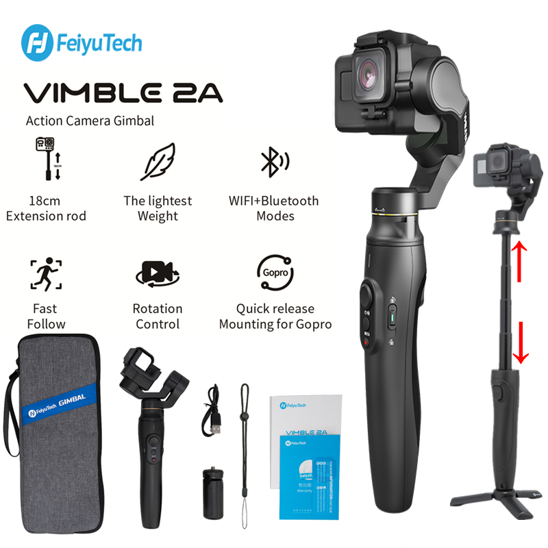 Feiyu Vimble 2A Extendable Action Camera Gimbal Stabilizer For Gopro Hero 7/6/5,18cm Extendable Pole With Tripod And Carry Bag