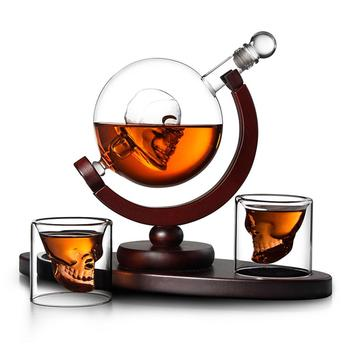 1 Pcs Whiskey Decanter Skull Whiskey Dispenser For Liquor Bourbon Vodka Globe Decanter With Finished Wood Stand