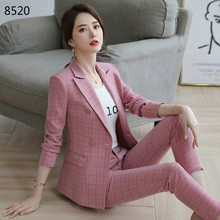 High Quality 2 Piece Set Work Fashion Pant Suits Women Plaid