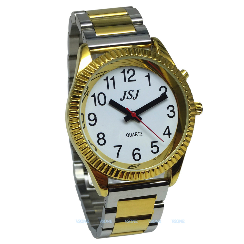 English Talking Watch With Alarm Function, Talking Date And Time, White Dial, Folding Clasp, Golden Case TAG-205