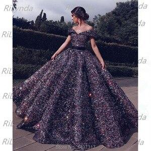 Image 4 - פאייטים ארוך ערב שמלות 2020 נפוח ספגטי רצועת כיסים ערב שמלות ערבית דובאי נשים פורמליות המפלגה שמלה