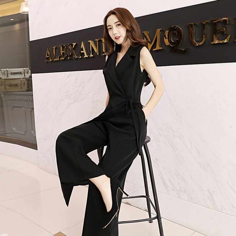 Nowe letnie kombinezony bez rękawów praca kobiet wysokiej talii szyfonu stałe OL pajacyki damskie Party szerokie spodnie nogi kombinezon kobiety czarny