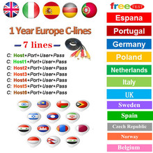 Spain Receptor Cccams lines for 1 year spain used for freesat v7 DVB-S2 CCcam Cline satellite receiver europe channels 7 lines