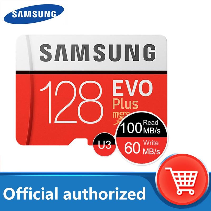 100% original Samsung micro sd de 128gb de tarjeta de memoria flash 100 MB/s 32gb 64gb cartao gb de memoria de Clase 10 UHS-I U3 4K de 256gb TF tarjeta