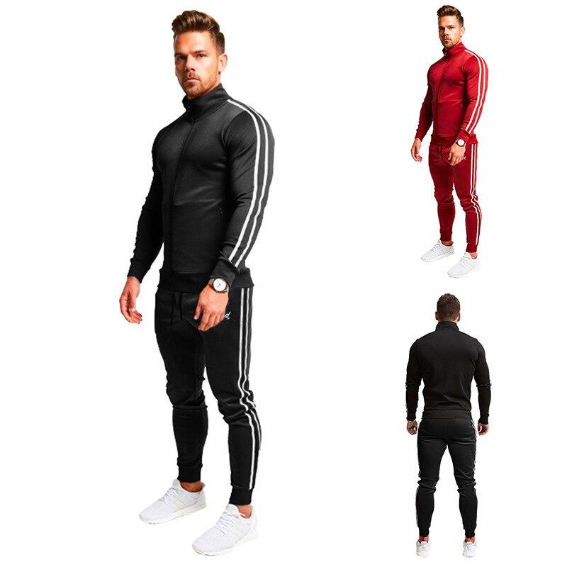 19 Ouma New Style Stripes Zipper Long-sleeved Upper Garment Stripes Drawstring Athletic Pants L Set Casual Two-Piece Set