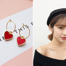 Fashion 2020 Red Heart Pendant Big Drop Earring For Women Cross Heart Gold Color Large Circle Statement Earrings Brincos Jewelry
