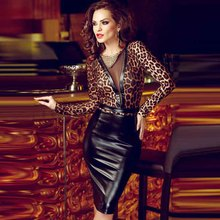 Sexy Women PU Leather Bodycon Mini Office Dress Black Elegant Pencil Party Dresses Vestidos Sheer Mesh Long Sleeve Club Dress