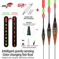 JiuYu-flotador de pesca con Sensor de gravedad electrónico inteligente, conjunto de Led + cargador USB, aparejo, accesorios de boya de invierno 2020, palo de luz para carpa