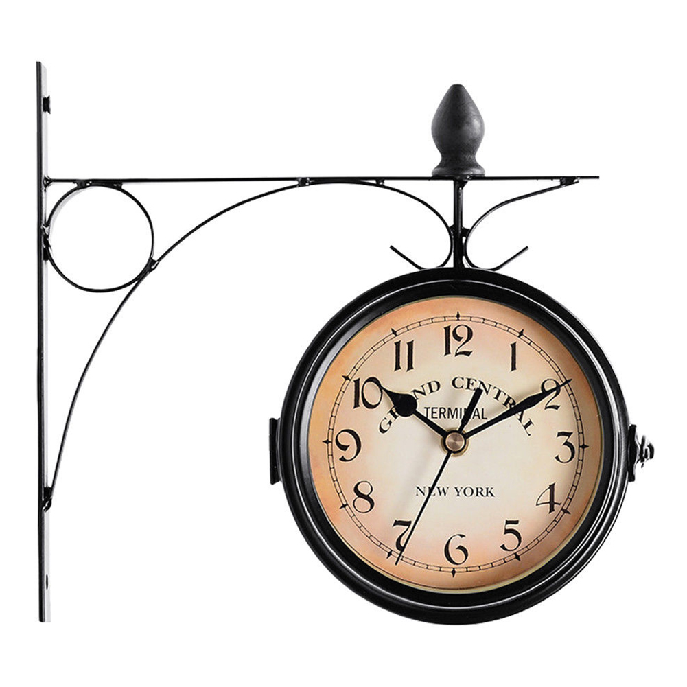 Wall Clock Vintage Battery Powered Mount Garden Outdoor Decoration Double Sided Retro Hanging European Style Coffee Bar Round