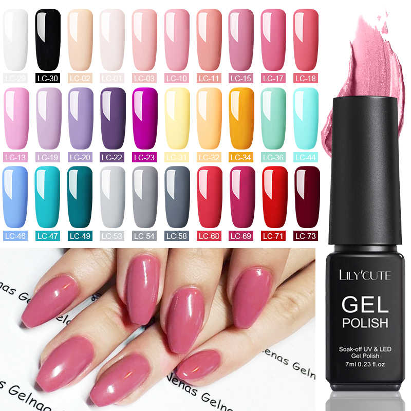 LILYCUTE 7ml UV Gel vernis rouge rose couleur UV Gel mat couche de finition imbiber Gel UV Semi Permanent ongles Art UV Gel vernis