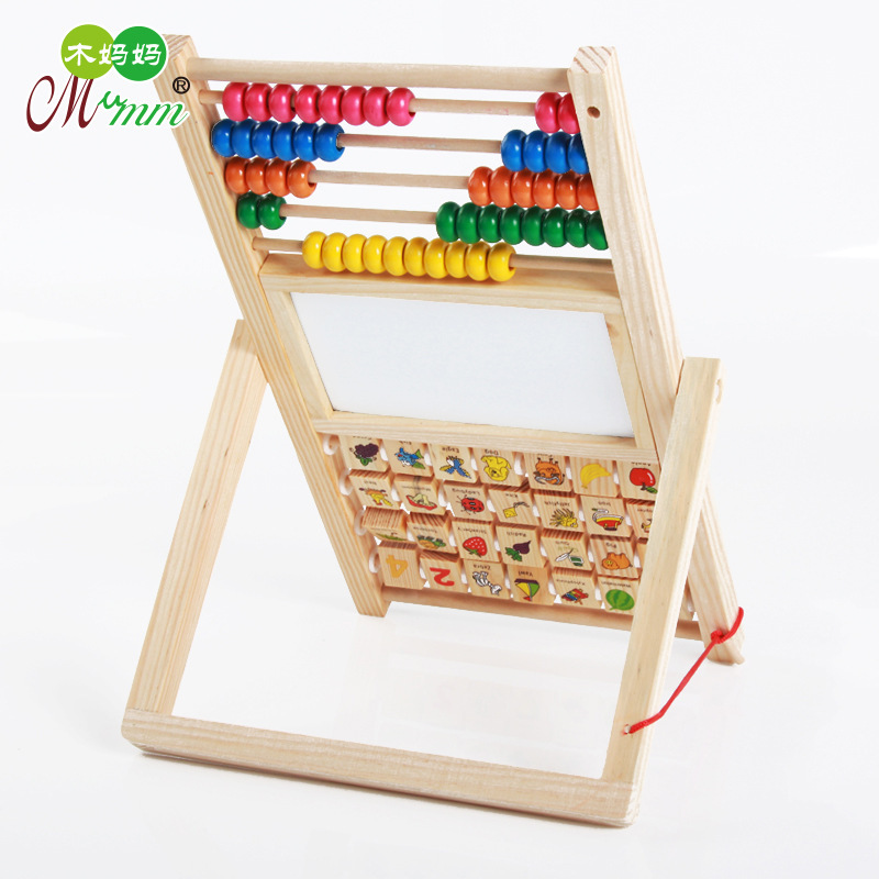 Educational Wooden Toys Multi-functional Double-Sided Sketchpad Double-Sided Calculation Frame Cognitive Animal Children Small G