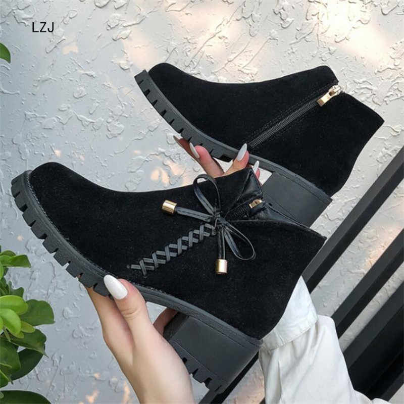 LZJ 2019 Fashion Bow Women Boots Winter Shoes Platform Female Warm Non-slip Botas Mujer Booties Ankle For Women Snow Boots