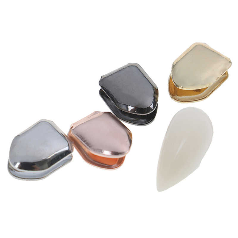 False Teeth Whitening Berlapis Emas Gigi Tunggal Kecil Topi Hip Hop Berlapis Emas Gigi Grillz Caps Atas atau Bawah Grill