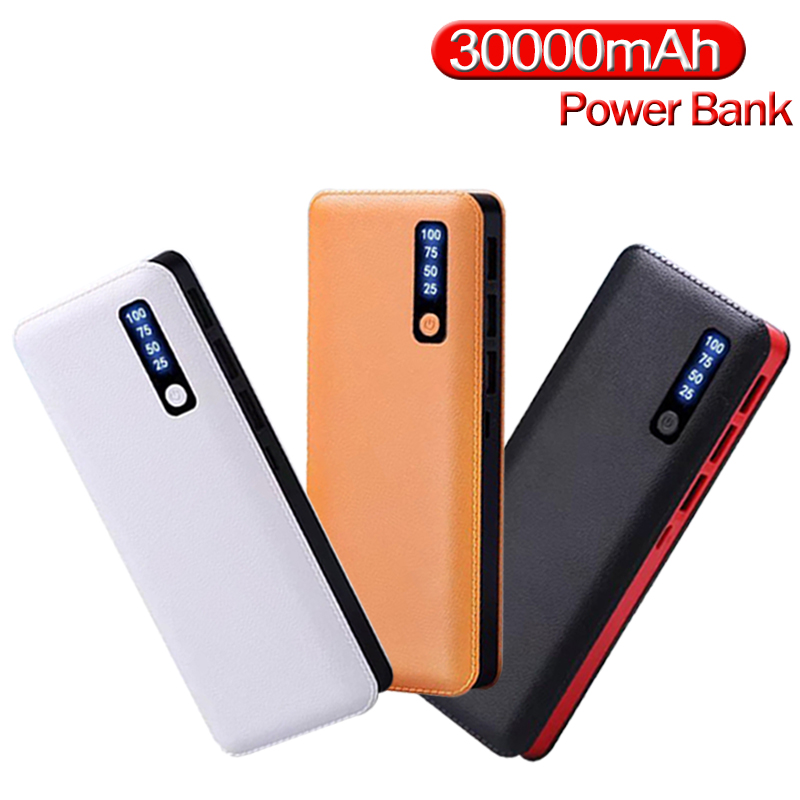 Portable Power Bank <font><b>30000</b></font> <font><b>MAh</b></font> Large Capacity Travel Charger Mobile Phone External <font><b>Battery</b></font> LCD Digital Display Fast Charger image