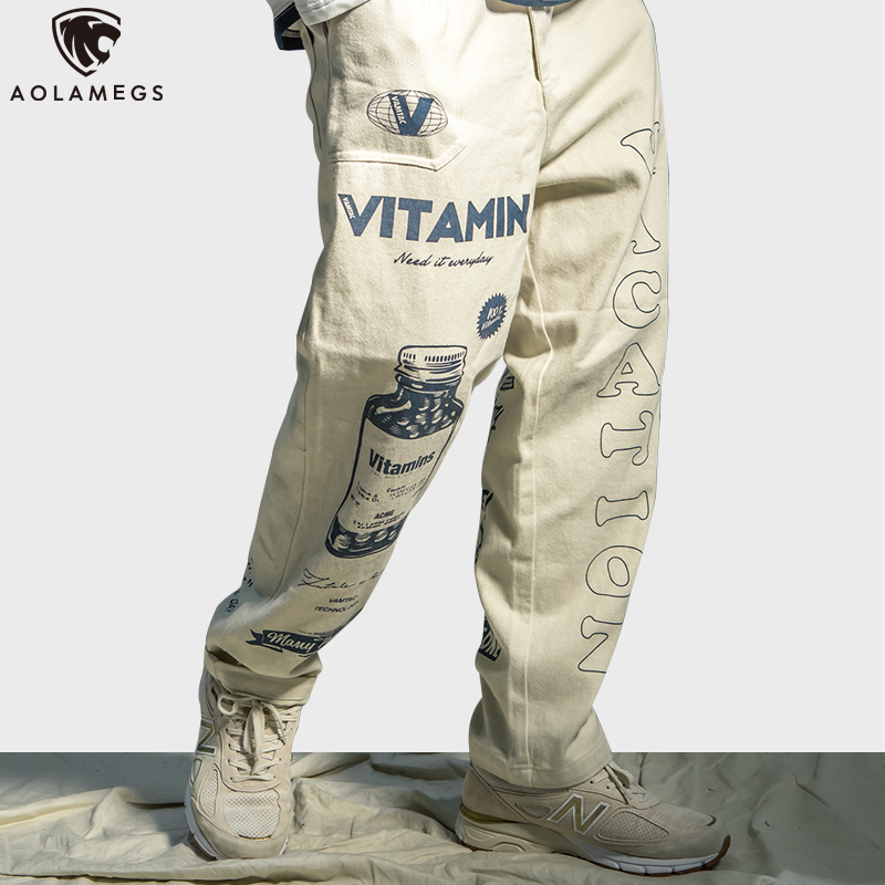 Aolamegs Sweatpants Funny Vintage Print Pants Men High Street Elastic Waist Fashion Baggy Hip Hop Style Men Streetwear Autumn