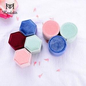 Image 3 - Kuololit 5 Stk/partij Fluwelen Hexagon Sieraden Dozen Voor Vrouwen Rood Roze Groen Blauw Ring Dozen Voor Bruiloft Engagement Bridal Gift nieuwe