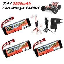 Original wltoys 144001 2s 7.4 v 3500mah bateria lipo atualizado recarregável para wltoys 1/14 144001 rc carro barco lipo bateria 1-5 pces