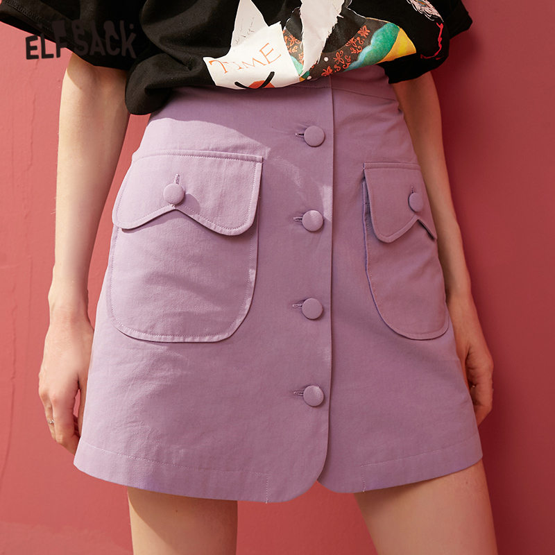 ELFSACK Green Solid Single Button A Line Women Sexy Skirts 2020 Spring Pure Green Elegant Double Pocket Korean Girly Mini Skirt