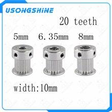 1 шт. 20 зубьев GT2 зубчатый шкив для 3d принтера диаметр 5/6,35/8 мм для GT2 зубчатый ремень Малый люфт Алюминиевый Редуктор