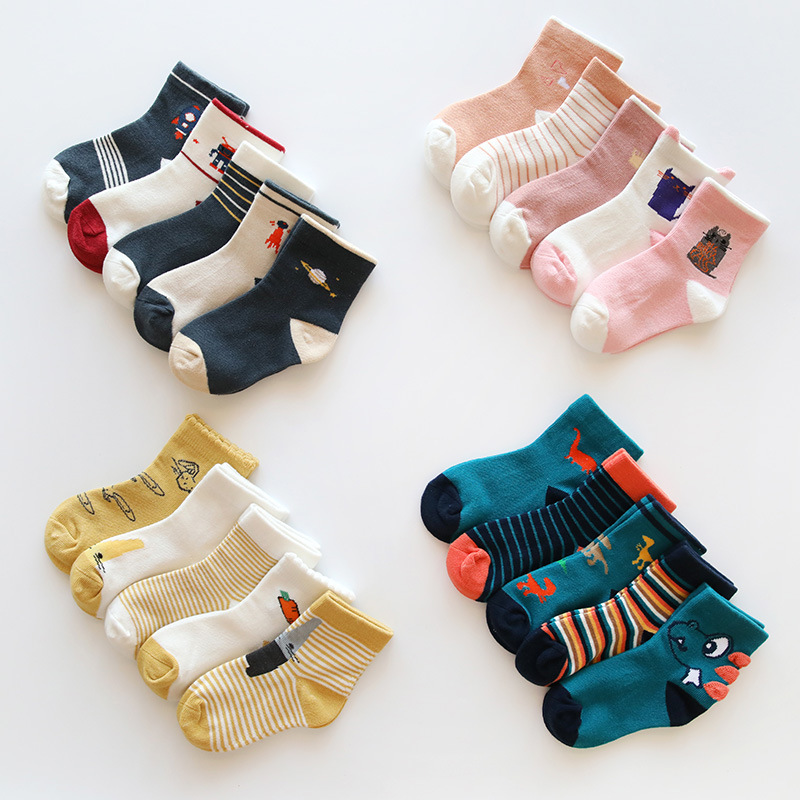 New  5pairs/lot Autumn Winter Children Kids Socks Cartoon Cotton Boys Girls Dinosaur Unicorn Elastic Socks For 1-8years