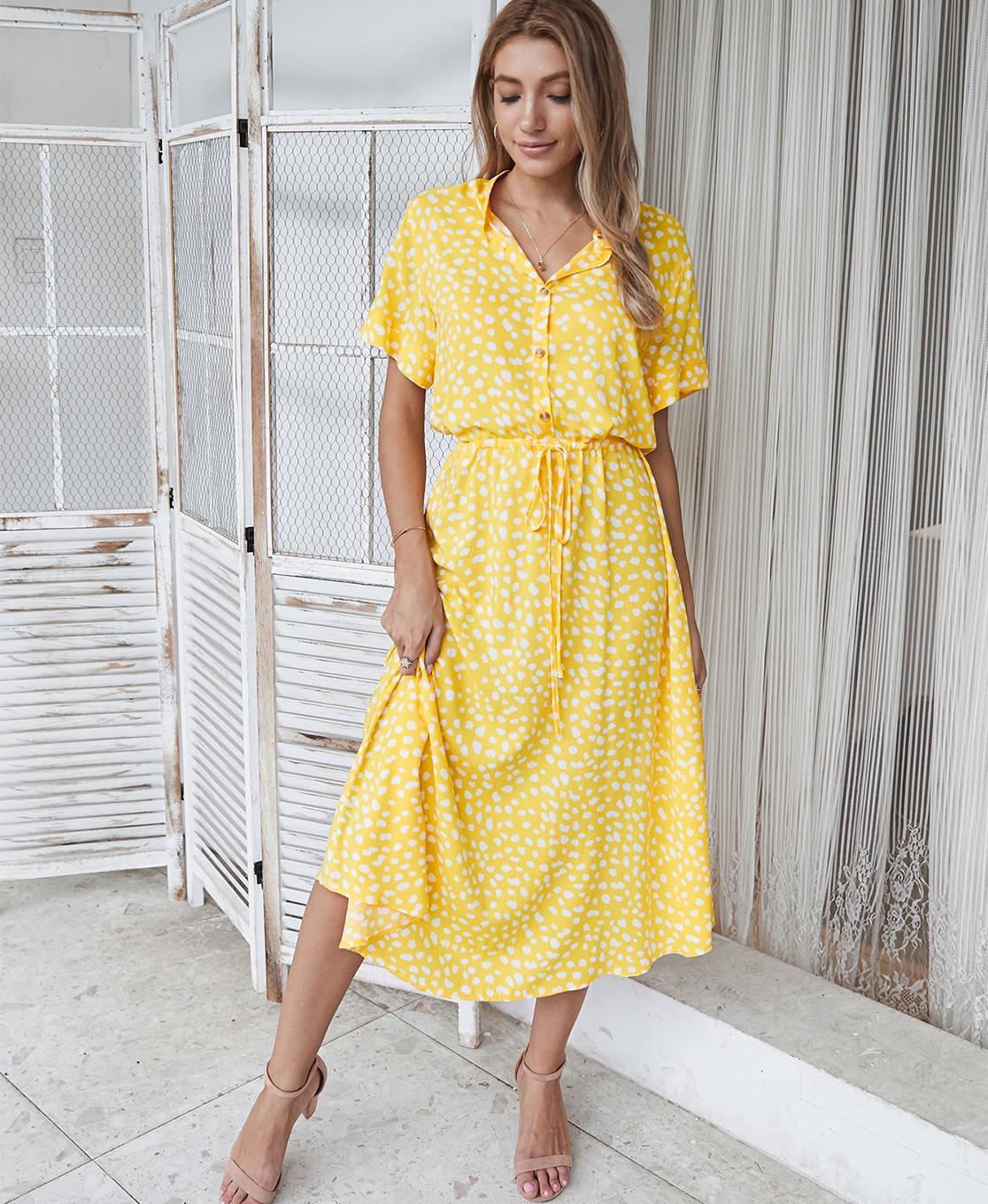 Dots Print White Short Sleeve Midi Boho Beach Dress 14