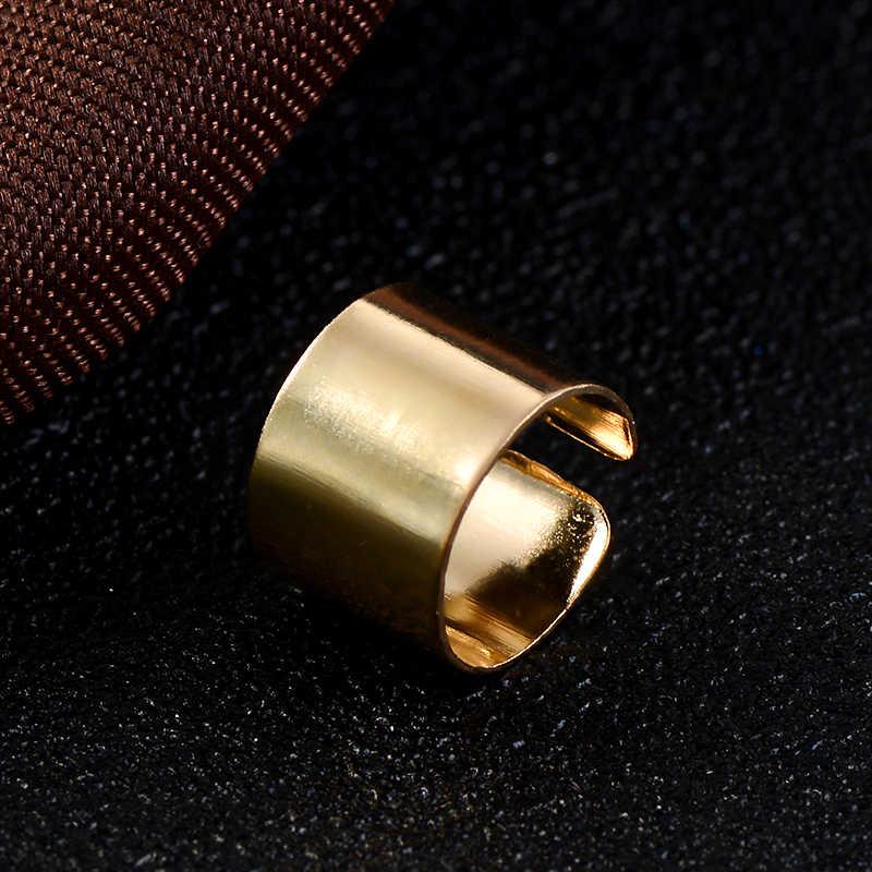 Nova personalidade simples piercing orelha cuffs punk aço inoxidável cor de ouro clipe brincos para mulheres homens clipe de ouvido