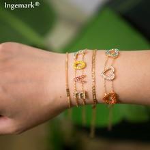 Ingemark Korean Crystal Heart Bracelet Set Charm Bangle 4pcs/set for Women Colorful LOVE Couple Jewelry Wholesale