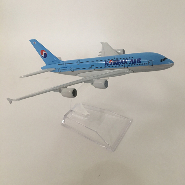 16cm Alloy Metal Airplane Model Korean Air A380 Airlines Aircraft Airbus 380 Airways Plane Model W Stand Gift free shipping 4