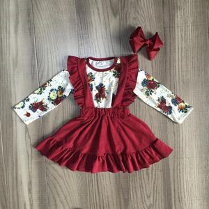 Image 1 - חדש סתיו/חורף תינוק בנות ילדי בגדי כותנה יין בורגונדי פרח לפרוע חצאית בוטיק ארוך שרוול התאמה קשת הברך אורך