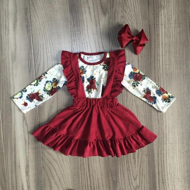 חדש סתיו/חורף תינוק בנות ילדי בגדי כותנה יין בורגונדי פרח לפרוע חצאית בוטיק ארוך שרוול התאמה קשת הברך אורך