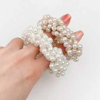 Woman Big Pearl Hair Ties Fashion Korean Style Hairband Scrunchies Girls Ponytail Holders Rubber Band Hair Accessories 5