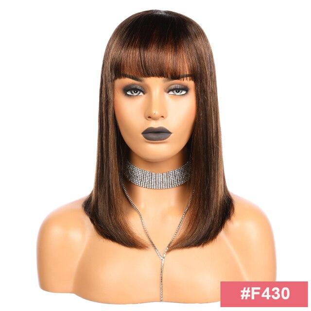 Brazylijski prosto pełna maszyna peruki z grzywką 10-16 cali Ali FumiQueen włosy # 1B lub F4-30 średniej długości Remy peruki z ludzkich włosów