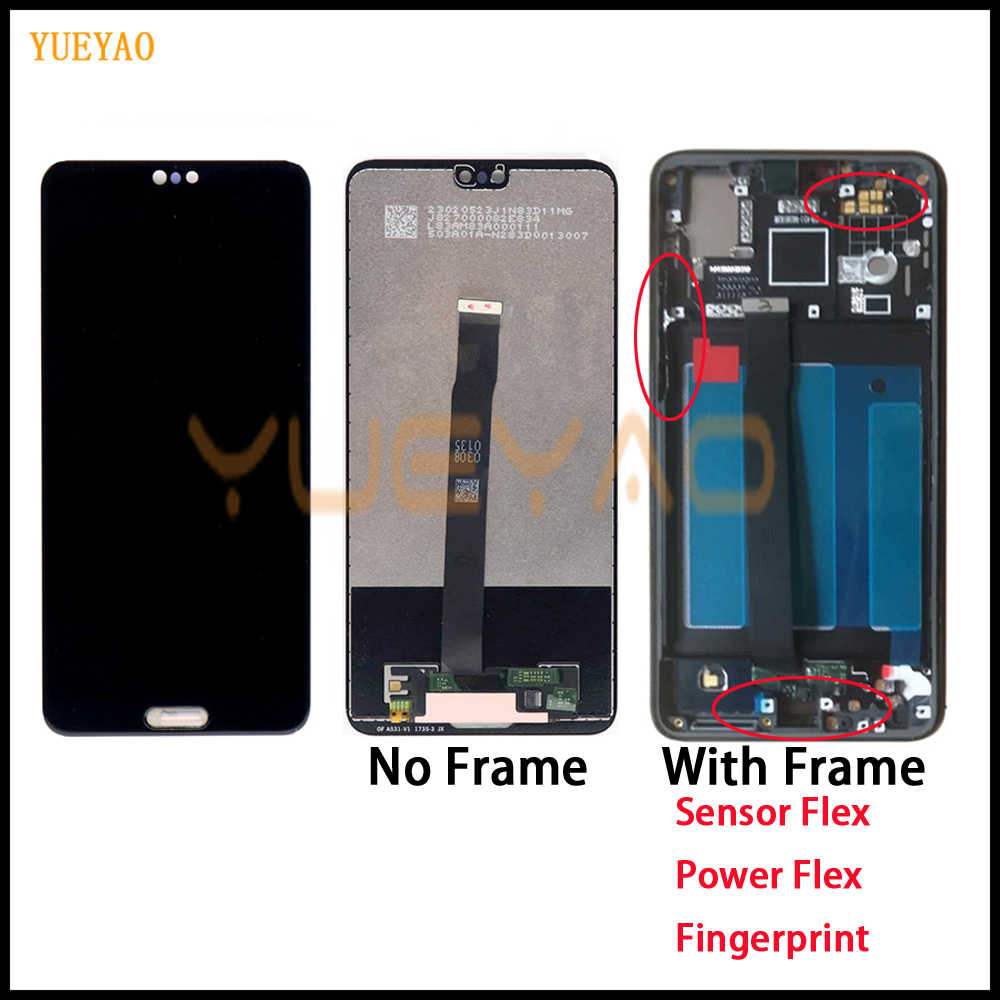 LCD For Huawei P20 LCD Display Touch Screen Digitizer Assembly EML L29 L22 L09 AL00 For Huawei P20 LCD With Frame Black Color