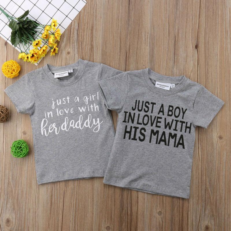 Summer Toddler Kids Baby Girls Boys Tops Short Sleeve T-shirt Letter Gray Tee Clothes
