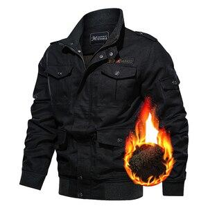 Image 3 - Chaqueta militar de invierno para hombre, chaqueta bomber gruesa de algodón, chaqueta informal de piloto de la fuerza aérea, ropa, forro de lana de talla grande, novedad de 2019