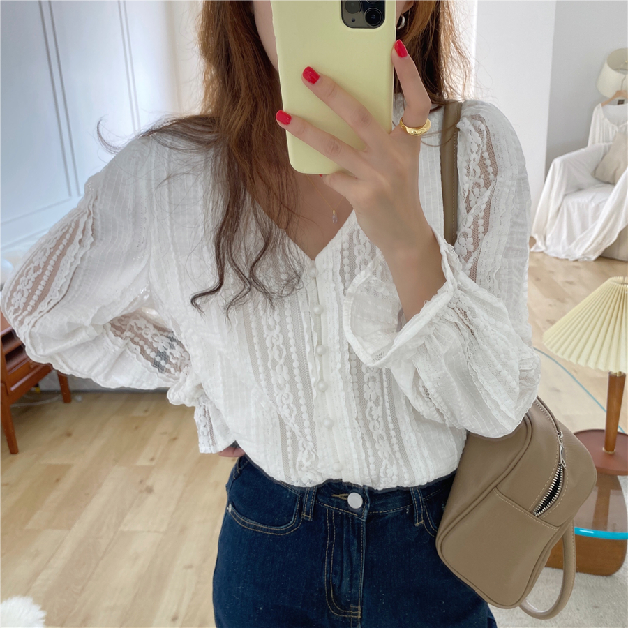H368afef00f0d4d98a957abfa335b859dO - Spring / Autumn V-Neck Long Sleeves Lace Buttons Blouse