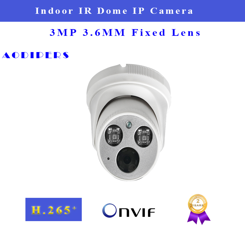 3MP Poe IP Camera Indoor Supports 3.6 Wide Lens Infrared Night Version 25fps H.265 Network Dome Camera P2P ONVIF CCTV Camera