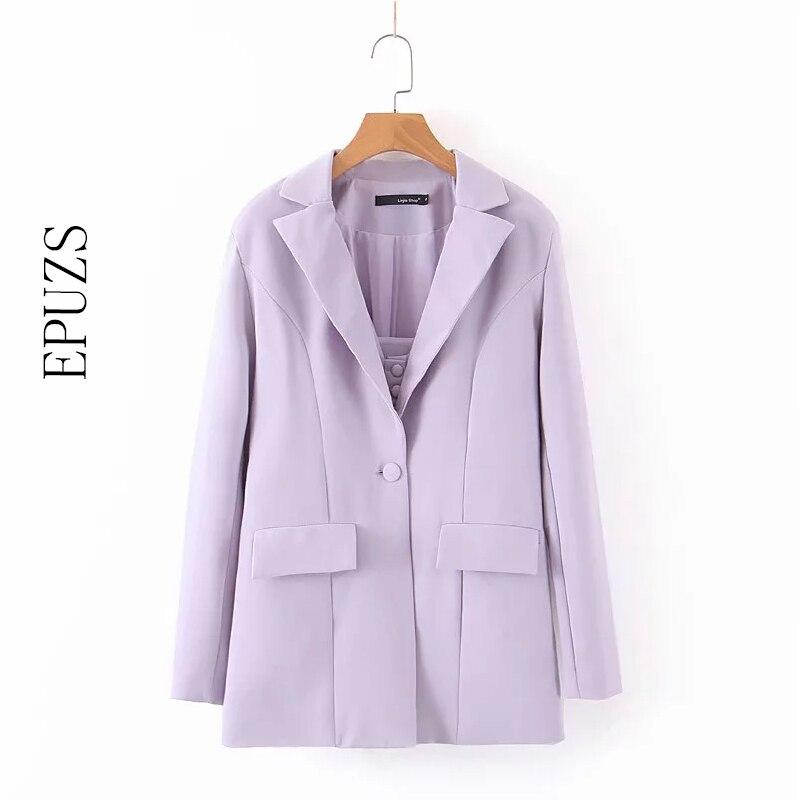 Autumn Women Blazers And Jackets Autumn Purple Single Button Blazer Coat Casual Suit Jacket Long Sleeve Office Blazer Femme