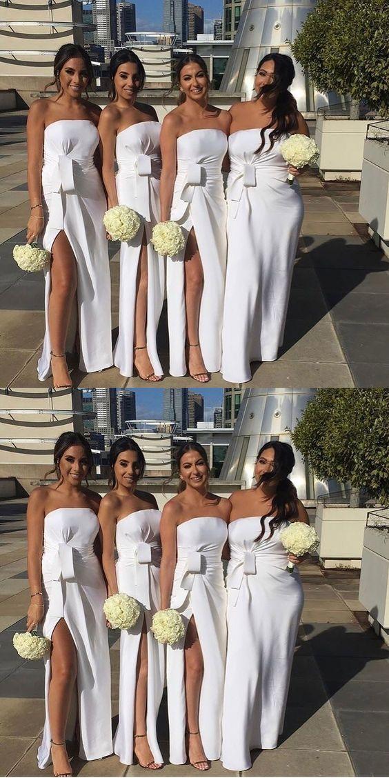 Sweetheart White Bridesmaid Dresses Long 2020 Satin Wedding Guest Dress Side Slit Vestido Madrinha Robe Demoiselle D'Honneur