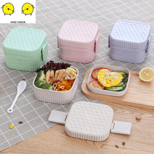 Wheat fiber square round double lunch box student Japanese multifunctional  divided plate